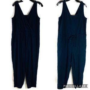 anthropologie drew linen blue crop jumpsuit medium